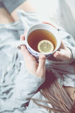 Girl is drinking hot tea on the sofa, cozy winter concept Royalty Free Stock Images