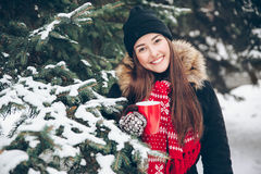Girl drinking hot tea in the winter forest Royalty Free Stock Image