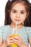 Girl drinking juice royalty free stock photo