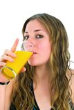 Girl drinking juice Stock Photography