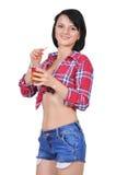 Girl drinking juice. Sexy girl drinking juice on white background Stock Photo