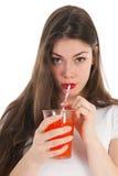 Girl drinking lemonade Royalty Free Stock Images