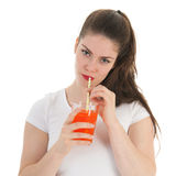 Girl drinking lemonade Stock Photography