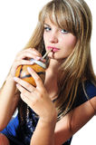 Girl Drinking Mate Stock Photography