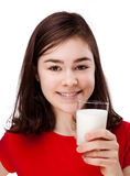 Girl drinking milk Royalty Free Stock Photos