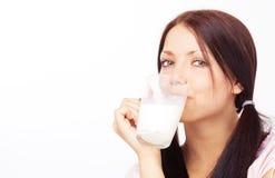Girl drinking milk Royalty Free Stock Photography