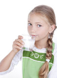 Girl drinking milk Stock Photography