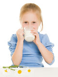Girl drinking milk Royalty Free Stock Images