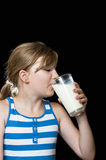 Girl drinking milk Stock Photos
