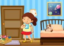 Girl drinking milk in bedroom. Illustration Stock Photo