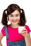 Girl drinking milk isolated on white background Royalty Free Stock Image
