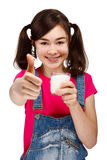 Girl drinking milk isolated on white background Royalty Free Stock Images