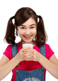 Girl drinking milk isolated on white background Stock Images