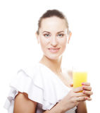Girl drinking orange juice Stock Photo