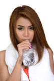 Girl drinking pure water from bottle. Royalty Free Stock Photos