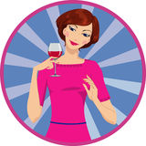 Girl drinking red wine Royalty Free Stock Photos