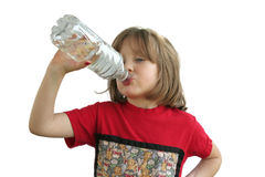 Girl Drinking Refreshing Water Stock Photo