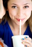Girl drinking soda Stock Image