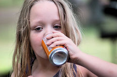 Girl Drinking Soda Stock Photo