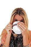 Girl drinking soup. Royalty Free Stock Photo