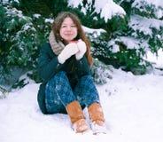 The girl drinking tea. Girl drinking tea in winter Royalty Free Stock Image