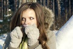 Girl drinking tea in nature. In winter Stock Photos