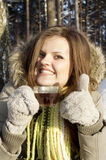 Girl drinking tea in winter. Beautiful girl drinking tea in winter Stock Images