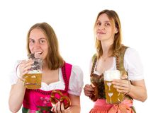 Girl drinking too much beer Royalty Free Stock Images