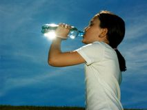 Girl Drinking Water Stock Photo