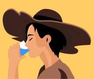 Girl drinking water. Vector graphics stock illustration