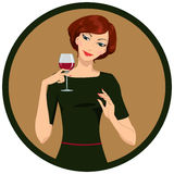 Girl drinking white wine Royalty Free Stock Images