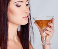 Girl drinking wine Royalty Free Stock Image