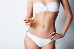 Girl drinking wine Stock Photos