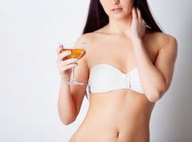 Girl drinking wine Royalty Free Stock Photo