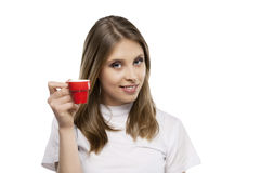 Girl drinks a coffee Stock Photos