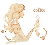 Girl drinks coffee, drawing with coffee stains Stock Photo