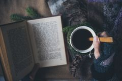 Girl drinks coffee and reads the book Stock Photography