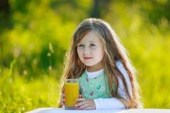 Girl drinks juice Stock Photography