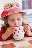 Girl drinks milk. From a cup Stock Images