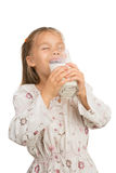 Girl Drinks Milk Stock Photo