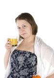 girl drinks orange juice Stock Photos