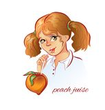 Girl drinks peach juice. Vector illustration Royalty Free Stock Photography