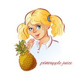 Girl drinks pineapple juice. Vector illustration Stock Photography