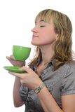 The girl drinks tea Royalty Free Stock Photo