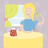 Girl drinks tea. Vector illustration Royalty Free Stock Images