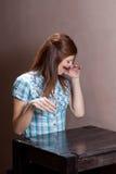 Girl drinks whiskey Stock Photo