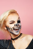 Girl with drips on the face for Halloween Stock Photos