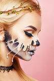 Girl with drips on the face for Halloween Stock Image