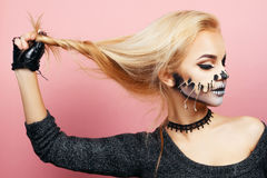 Girl with drips on the face for Halloween Stock Images