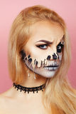 Girl with drips on the face for Halloween Royalty Free Stock Images